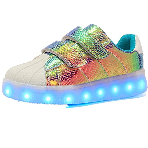 Kids Girls Boys Trainers Flashing LED Luminous Lights USB Charger Velcro Sneaker(Blue 38/7 B(M) US Women / 5 D(M) US (Dance Costumes Canada Jazz)