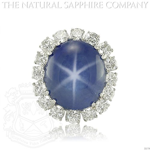 Untreated Sapphire (37.80ct Natural Untreated Blue Star Sapphire set in a Platinum Mounting with 5.00cts of diamonds (J3379))