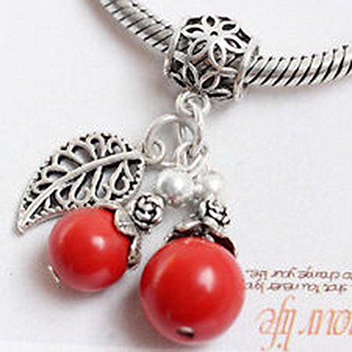 Burts Beads - sterling silver leaf flower girl charm red bead dangle pendant for bracelet new NJOY13090