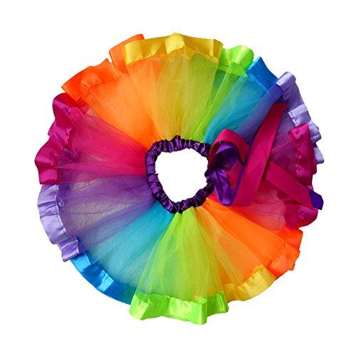 iFergoo Rainbow Tutu Skirt Layered Ballet Tullet Dance Dress for Toddler Baby Girls Dress Up, Bonus 10pcs Hair (Christmas Tap Dance Costumes)