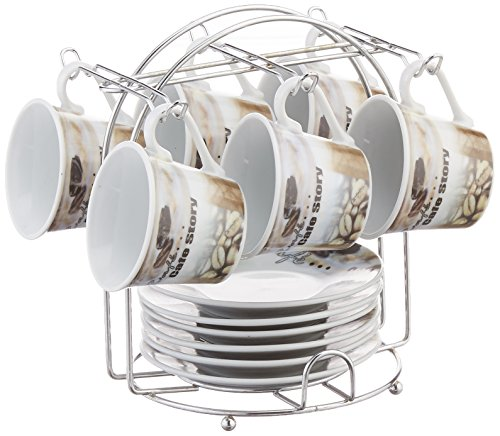 - Lorren Home Trends Porcelain Espresso Coffee Cups, Brown Coffee Design, 13-Piece