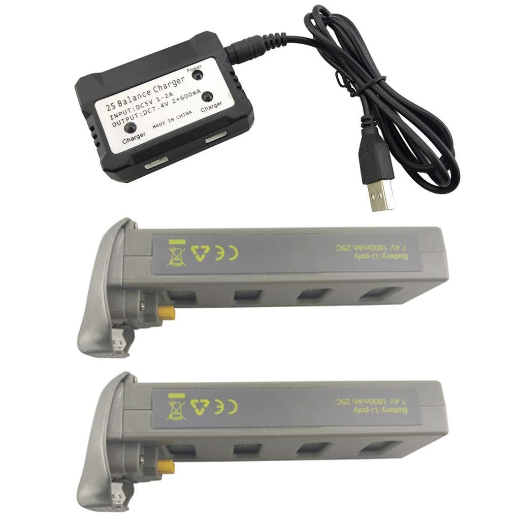 Fytoo 2PCS 7.4V 1800mah Lipo Batería y 2 en 1 Cargador para ...