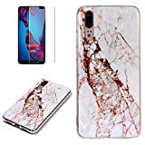 for Huawei P20 Marble Case with Screen Protector,Unique Pattern Design Skin Ultra Thin Slim Fit Soft Gel Silicone Case,QFFUN Shockproof Anti-Scratch Protective Back Cover - White