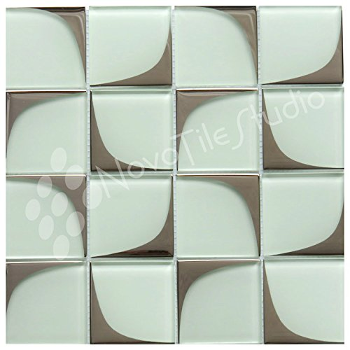 Box 10 Tiles Retro White & Silver Glass Mosaic Tile 12''x12'' MILANO-GL004 (10) by NovoTileStudio.com