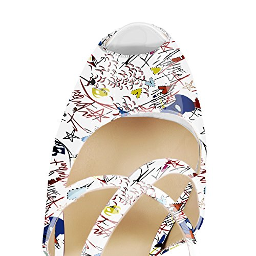 Damen Open Toe Plateau Stiletto High Heel Pumps Schluepfen Knoechel Cross Strap Buckle Party Schuhe White painting