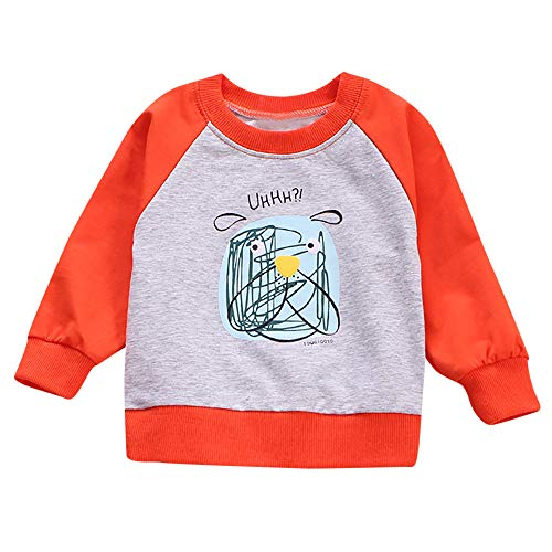 Baby Kid Top Outfits,Fineser Adorable Baby Girl Boy Kid Long Sleeves Letter Cartoon Print T-Shirt Tops Clothes 4 Color (Orange, 18M(90))