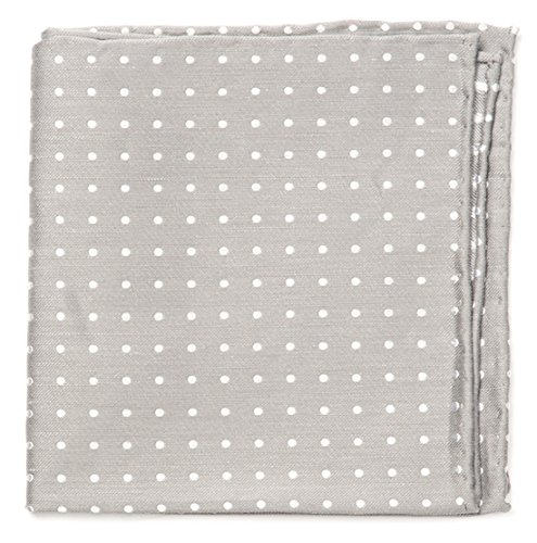 (The Tie Bar Linen Blend Dotted Dots Silver Pocket Square)
