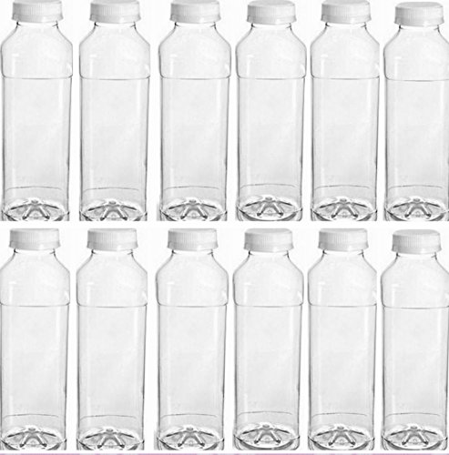 12 Pack of 16 Oz Plastic Bottles, Clear PET Square Beverage Bottles w/ White Tamper Evident Caps