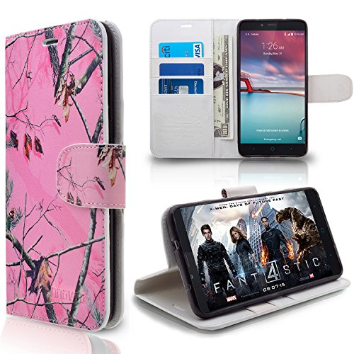 ZTE Imperial Max / Z963U / Grand X Max 2 / Z988 Case, INNOVAA Premium Leather Wallet Case with STAND Flip Cover W/ Free Screen Protector & Touch Screen Stylus Pen - Pink Camo (Zte Imperial 2 Wallets Case compare prices)