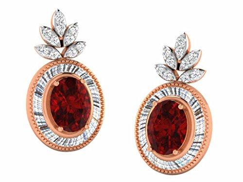 Libertini Boucle d'oreille argent 925 plaque or Rose serti de Diamant et Améthyste