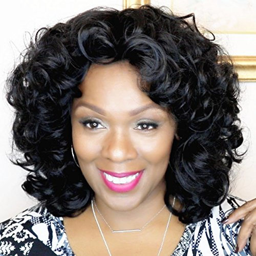 Mildiso Wigs for Black Women Short Wig Kinky Curly Wigs Afro Wigs African American Women Wigs with Wig Cap M036
