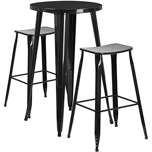 Flash Furniture 24'' Round Black Metal Indoor-Outdoor Bar Table Set with 2 Saddle Seat Stools - 24' Round Bistro Table