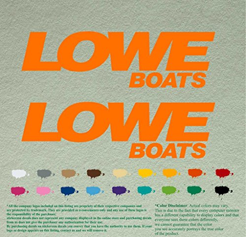 "Pair of Lowe Boats Outboards Decals Vinyl Stickers Boat Outboard Motor Lot of 2 (12"", Orange 034)"