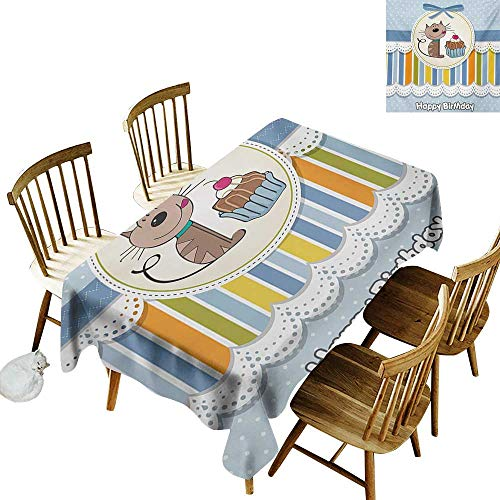 Cranekey Kitchen Rectangular Tablecloth W54 x L72 Kids Birthday Present Wrap Like Image with Chocolate Cake Figure and Kitten Party Baby Blue and White Great for Wedding ()