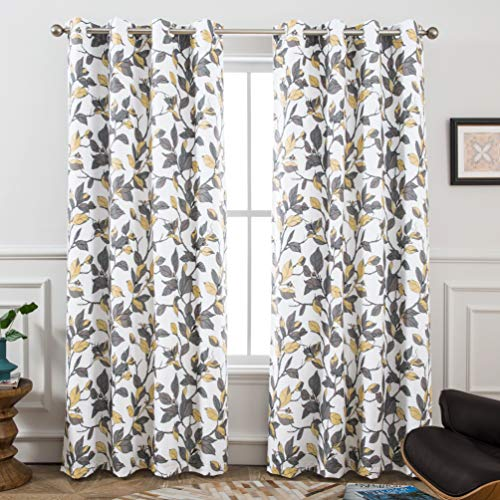 - DriftAway Ryan Sketch Branch Leaves Blackout/Room Darkening Grommet Lined Thermal Insulated Energy Saving Window Curtains, 2 Layer, Set of Two Panels, Each 52
