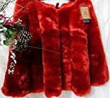 Well Dressed Home Luxury Polar Plush Faux Fur 52'' Christmas Tree Skirt - Red
