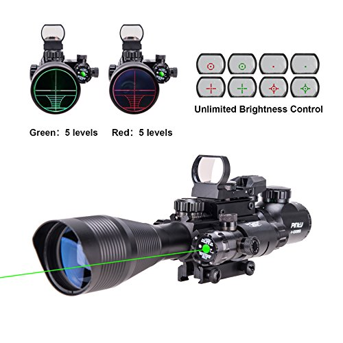 Cheap Pinty 3 in 1 Scope Combo 4-12x50EG Rangefinder Illuminated Riflescope with 4 Reticle Red&Green...
