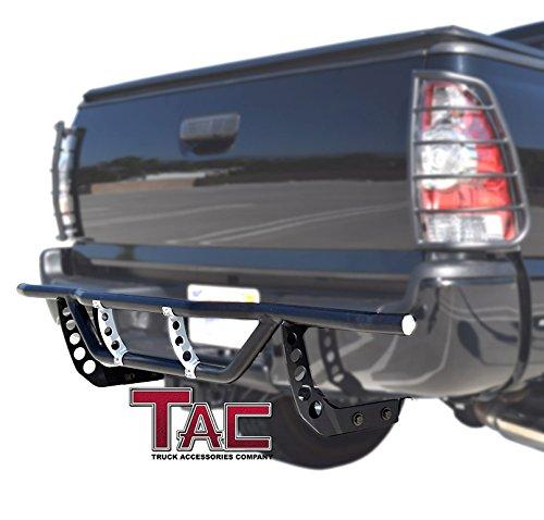 TAC EVO33090 2005-2015 Toyota Tacoma Rear Bumper Guard  Protection Nerf Push Bar, Black