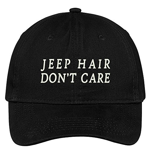 Jeep Hair Don't Care Embroidered 100% Cotton Adjustable Cap Dad Hat - Black