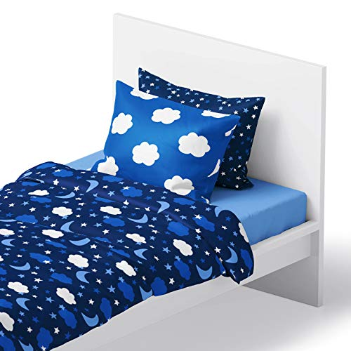 Chital 4Pc Full Linen Sheet Set - Cute Night Sky - Starry Print - Flat & Fitted Sheets with 2 Pillowcases for Kids Girl Boy Teen & Adult - Super Soft Microfiber - Fits Bed Size: 54x75x15 inches Deep