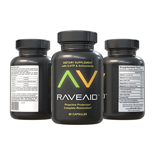 RaveAid - World's First & Most Trusted Rave Party Recovery Supplement | Ultimate Protection & Recovery | Efficient Scientific Formula For Maximum Potency | Ensured Body & Brain Function (60 Capsules) (Ultimate Recovery)