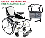 Karman S-Ergo 106 Aluminum Ultra Lightweight Ergonomic Wheelchair S-Ergo106F18SS, Removable Aegis Anti-bacterial Cushions 18''W X 17''D Seat, Frame Color Silver & FREE Medical Utility Bag Gray!