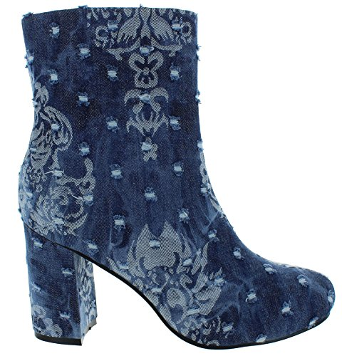 Urban Heels Diva Womens Chunky High Blocked Heels Ankle Denim Floral Embroidery Booties  8 5