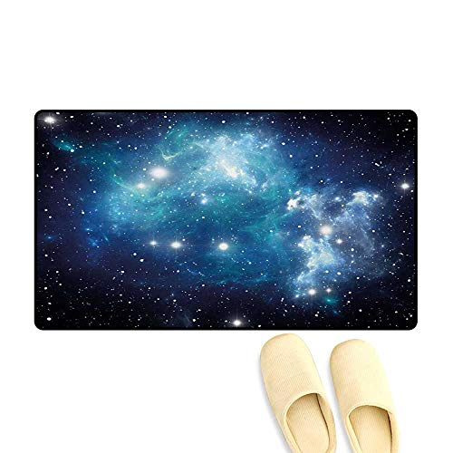 - Bath Mat,Vibrant Celestial Supernova Scenery Dynamic Energy Andromeda Mystical Outer Space Picture,Door Mat Indoors,Blue,32