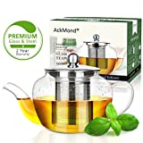 AckMond 20 Ounce / 600 Milliliter Clear Glass Teapot in Apple Shape with Heat Resistant Stainless Steel Infuser