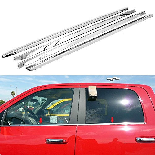 EZ MOTORING Polished Stainless Steel Window Sill Trim For 2009-2018 Dodge Ram 1500 Crew Cab/Mega Cab (rear window sill measure at 33
