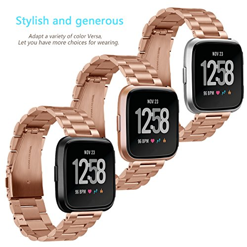 for Fitbit Versa Bands Rose Gold Stainless Steel Metal Bracelet Replacement Wristband Accessories Strap by autulet (Image #4)