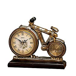High-end Quartz Clocks,Desk & Shelf Clocks, Bicycle Bike Shape Creative Design Decoration Clock use for Bedroom,Desk,Mantel,Living Room,American Retro Style,with Base and Thermometer