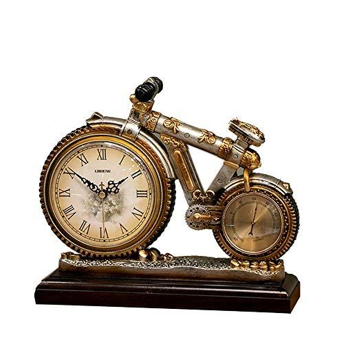 Desk & Shelf Mantel Clocks, Bicycle Bike Shape Creative Design Decoration Clock,Use for Bedroom,Desk,Kitchen,Office, Mantel,Living Room,American Retro Style,with Base and Thermometer (Living Room Mantel Decor)