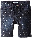 Levi's Little Girls' Charlene Sparkle Bermuda, Best Friend Blue/Silver Glitter Star Print, 4