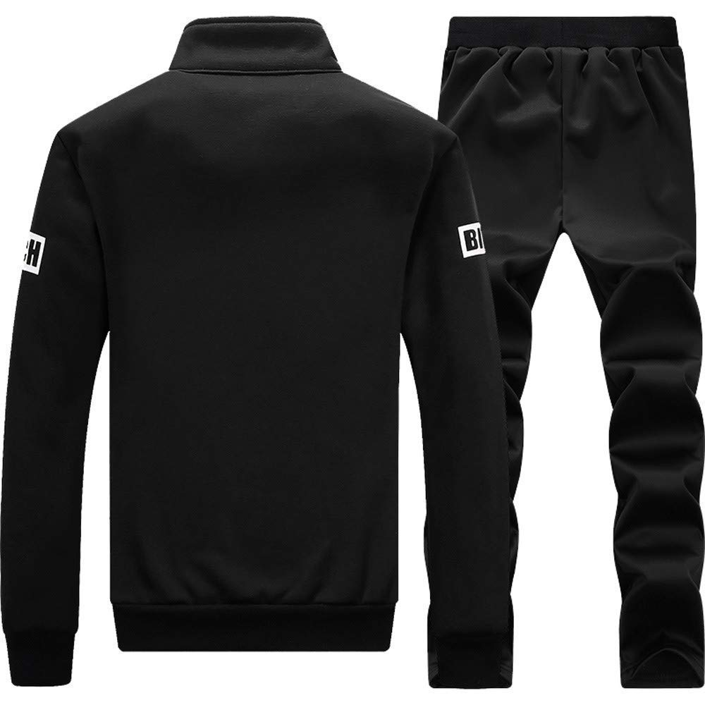 Color : Schwarz4, Size : 3XL Upper Outer Garment Mens Autumn Winter Thicken Sweatshirt Top Pants Fashion Sets Sport Suit Fashion Tracksuit Wild Tight for Men