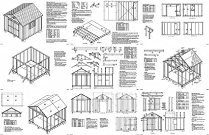 10u0027 X 10u0027 Gable Storage Shed Project Plans  Design #21010   Woodworking  Project Plans   Amazon.com