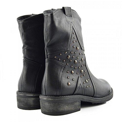 Kick Footwear Women Flat Biker Boot Low Heel Ankle Vintage Punk Goth Boots Combat Style