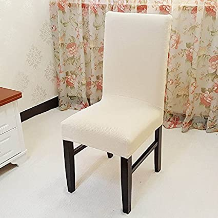 Dining Chair Slipcovers SindeRay Removable Elastic Stretch Room Knitted Seat Cover Decor 6 PCS Champagne Amazoncouk Kitchen