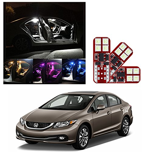IRONSKY Car Super Bright LED Interior Lights White Bulbs Accessories Replacement Package Kit For 2013-2019 Honda Civic (8 Pieces)