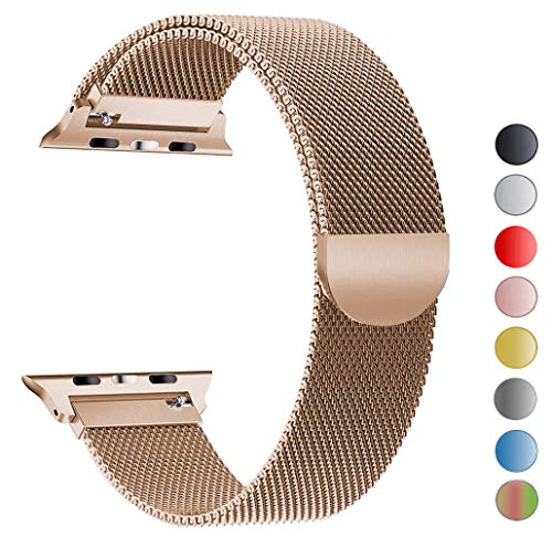 Seoaura Compatible Apple Watch Band 38mm 40mm, Stainless Steel Milanese Loop Replacement Strap with Magnetic Closure iWatch Series 4 3 2 1 Sports (Vintage Gold, 38mm/40mm)