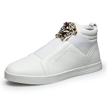 YAN Calzado Casual de Hombre Calzado de Cubierta de Cuero Calzado Alto-Informal Calzado Deportivo Mocasines al Aire Libre Zapatos para Caminar Blanco Negro: ...