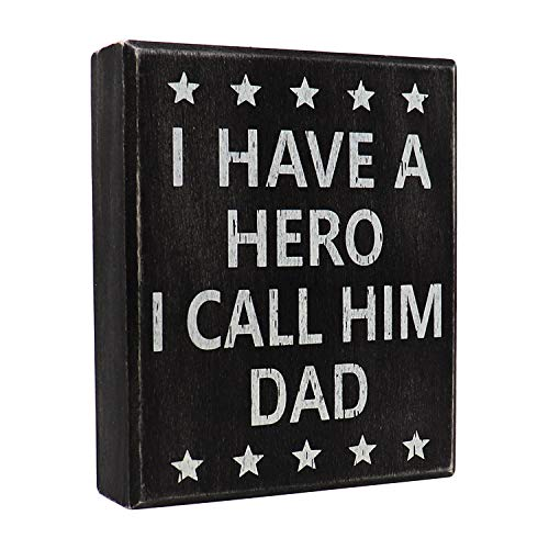 JennyGems Dad Sign, I Have A Hero I Call Him Dad - Unique Dad Gift, Best Dad Gift - Wooden Stand Up - Dad Presents - Gifts for Dad - Shelf Knick Knacks