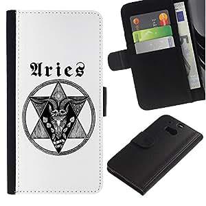 ARTCO Cases - HTC One M8 - Horoscope Zodiac Aries Tattoo Unique - Cuero PU Delgado caso Billetera cubierta Shell Armor Funda Case Cover Wallet Credit Card