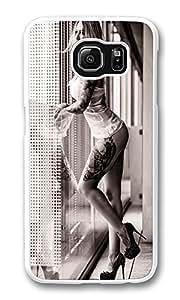 VUTTOO Rugged Samsung Galaxy S6 Edge Case, Hot Blonde Tattooed Leg Sleeve Girl Hard Case for Samsung Galaxy S6 Edge PC White