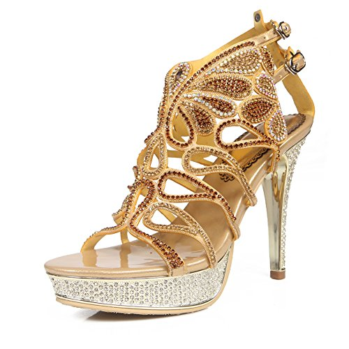 Prom Low Mid Diamante Zapatos Señoras Mujeres Nvxie Party Tamaño Heel Strappy Gold High Sandalias qzRtE