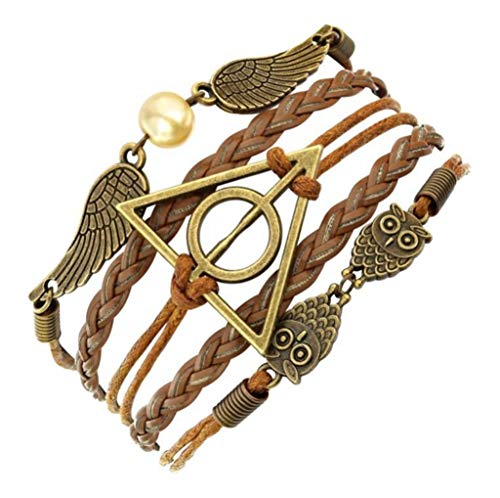 Fashion Vintage Leather Rope owl Deathly Hallows Bracelets Hand Weave Multilayer Retro Potter Bracelets for Women Best Gift
