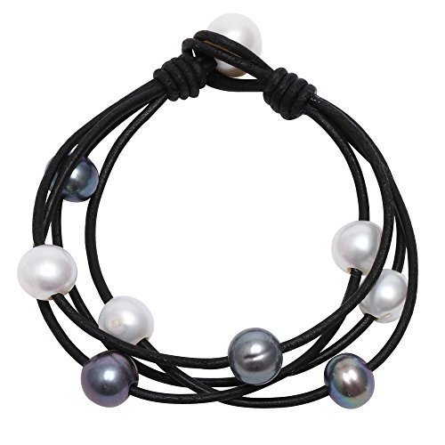 Leather Freshwater Pearls Wraps Bracelet Handmade Beaded Strands Jewelry on Genuine Leather Cord for Women-Black LeatherBlue Pearl
