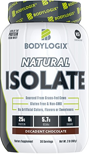 Bodylogix Natural Grass-Fed Whey Isolate Protein Powder, NSF Certified, Decadent Chocolate, 2 Pound