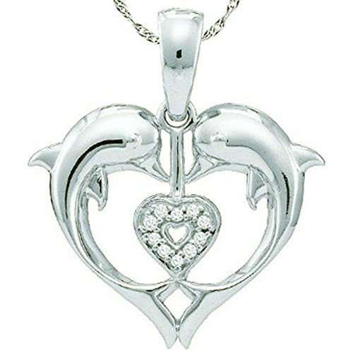 0.05 Carat (ctw) 10K White Gold Round White Diamond Ladies Heart Shape Double Dolphin Pendant
