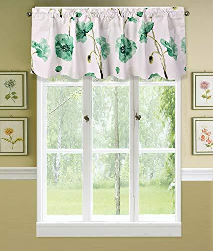 "Sapphire Home 1PC Rod Pocket Floral Valance 54"" L x 18"" W, Decorative Green Floral Print, Soft, Light Filtering Room Darkening Thermal Foam Back Lined, Window Valance Decoration, DRP Valance Green"